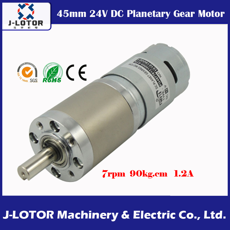 DC 24V 45mm Planet Geared Motor 7~8rpm 8N.m 90kg.cm 1.2A 755 Motor With 369:1 reducer High torque at low speed reduction motor 310 reduction of motor speed reducer technology small making motor diy puzzle solar toys handmade accessories