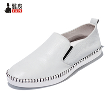 US5-10 Retro Soft Genuine Leather Casual Round Toe Loafers Slip-On Mens loafer Driving Shoes
