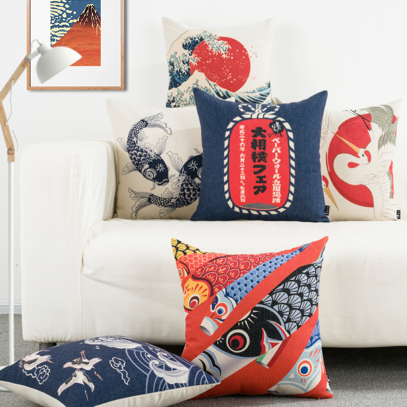 Decorative Japanese Ukiyoe Cushion Cover Throw Pillow Case Pillow Cover Square