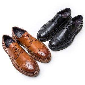 Image 4 - 2020 גברים עור נעלי גברים שמלת נעלי פורמליות חתונה מסיבת נעלי גברים רטרו מבטא אירי נעלי יוקרה מותג גברים של נעלי אוקספורד