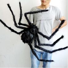 2017 free shipping good quality 2pcslot 12m large spider halloween black plush spider halloween decor spiders jokes toys