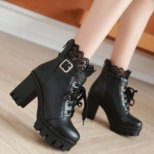 Fashion Ankle Boots For Women Platform Shoes Punk Gothic Style Rubber Sole Lace Up Black Spring Autumn Chunky Boots Woman #C(China)