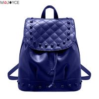 2017 New Fashion Women Washed PU Leather Rivet Backpack Drawstring Casual Girls Travel Bag Travel Rucksack