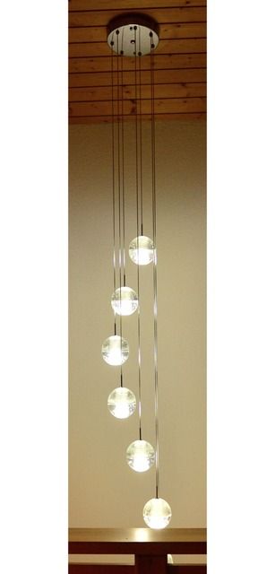 Phube Lighing LED Meteor Shower Crystal Chandelier Light Fixtures Stairwell  Chandelier Modern Foyer Chandeliers 7 Light