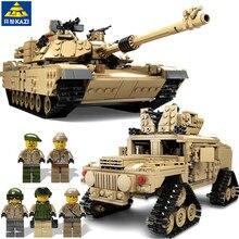 KAZI 1463Pcs Военные тематические блоки для танков M1A2 ABRAMS MBT Tank Hummer Cars Кирпичи 3D Строительные игрушки для детей