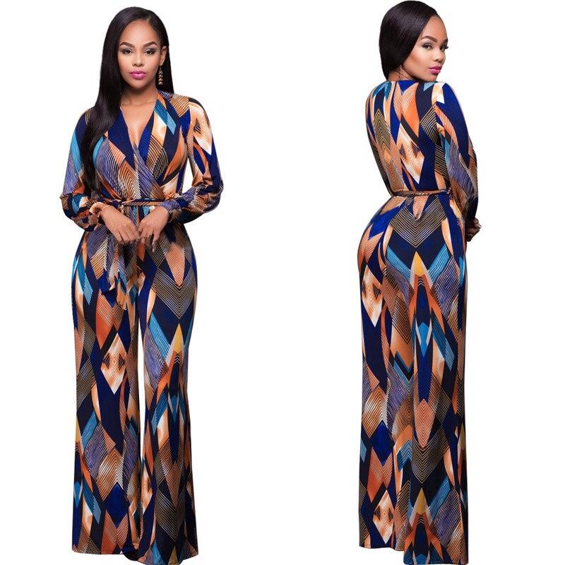 Fashion Plus Size Jumpsuit Romper Women Long Sleeve V Neck High Elastic Overalls Lace Up Wide Leg Jumpsuit Plus Size Long Pants