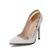 2016 Fashion New Cut-outs Women Shoes Snake Mesh Pointed Toe High Heels Mix-colour T Show Wedding Party Size 40