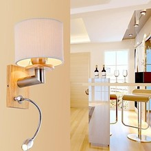 Oak Modern LED Wall Lamp Lights with LED Reading Light For Bedroom Home Lighting,Wall Sconce Free Shipping lustre wall sconce modern led crystal wall light lamp with 2 lights for home lighting stainless steel plating