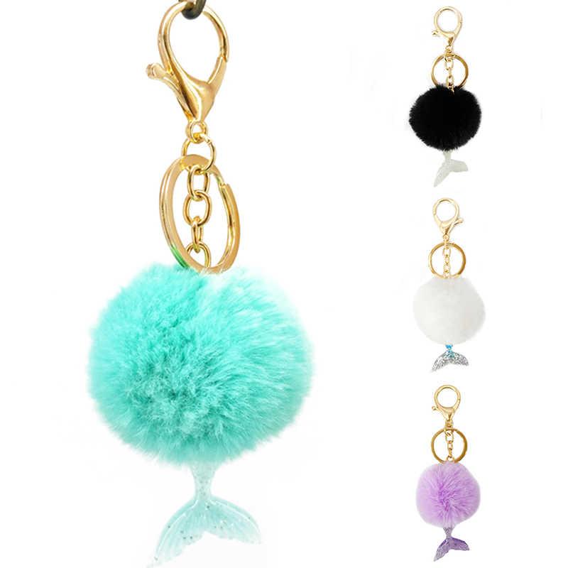 FashionNew 1 cái Lông Súng Đại Bác Tự Pom Fluffy Túi Mặt Dây Chuyền Vòng Khoá Xmas Đồ Trang Sức Quà Tặng 5 ColorsBall Keychain Với Nàng Tiên Cá Đuôi Key chủ