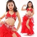 De los niños niño danza del vientre oriental indio gitano bailando la danza del vientre trajes ropa sujetador cinturón bufanda anillo falda dress suit set 02
