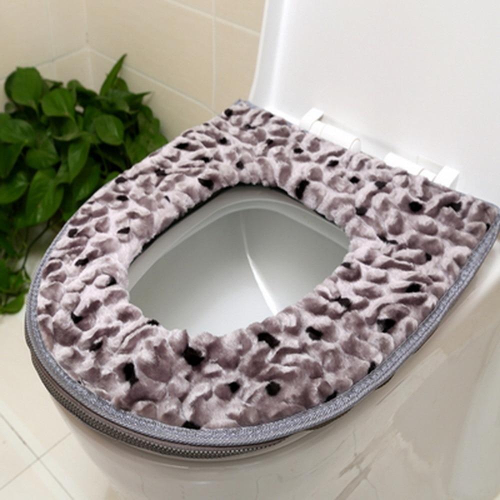 ZTGood quality Winter warm thickening Velvet Zipper luxury toilet seat cover bathroom WC leather waterproof potty pad JJ-ZBD9