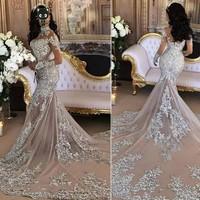 Arabia Vogue Bridal Dresses Mermaid Full Sleeves Wedding Gowns Brand Design Beaded Crystals Sliver Wedding Dress Long Tail Sexy