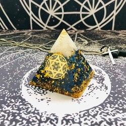 AURAREIKI orgonit piramidi Sahasrara çakra Aura beyaz kristal Lapis reçine el sanatları büyüme bilgelik Charm piramit mücevher C0157