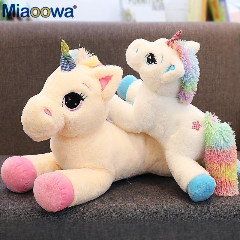 40-110cm de pelúcia animal do bebê bonecas kawaii dos desenhos animados arco-íris unicórnio brinquedos de pelúcia crianças presentes brinquedos crianças presente de aniversário do bebê