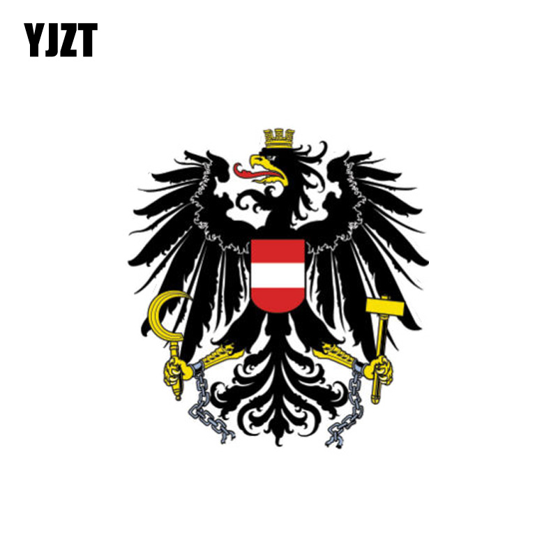 YJZT 9.6CM*10.2CM Personality Funny Austria Flag Coat Of Arms Car Sticker Decal  6-1087