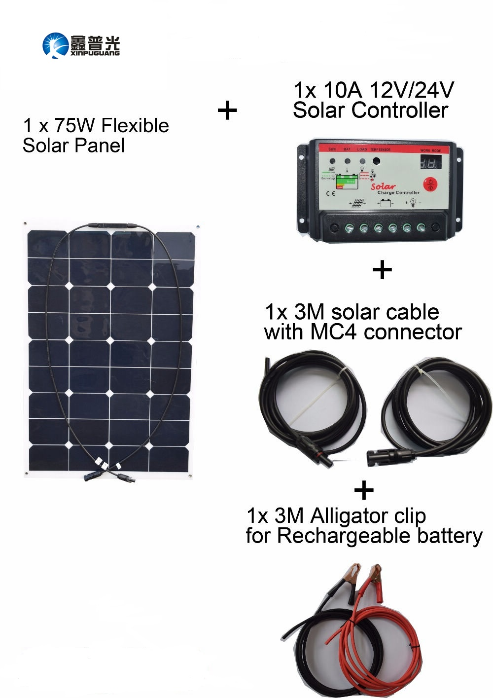 Xinpuguang 75W 20V Solar Panel System Flexible Smooth Surface DIY RV Marine Solar System Kits Controller Cable Outdoor Led Light boguang 6x100w solar system kits 600w flexible solar panel controller inverter cable adaptor for12v 24v rv marine camping home