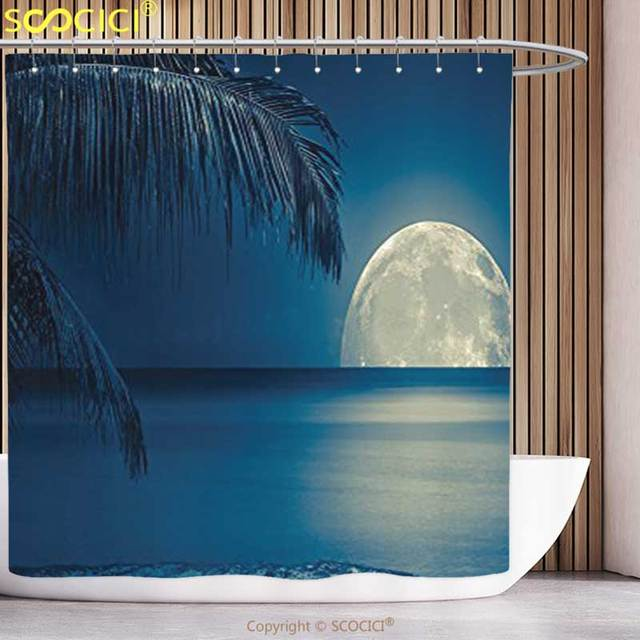 Cool Shower Curtain Ocean Decor Collection Full Moon Reflected on ...