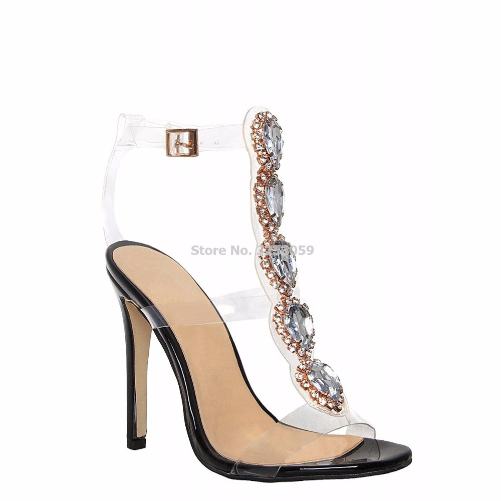 ce2e752731d ALMUDENA Sweet Trendy Clear Heel Bling Bling Beaded Sandals See Through Pvc Strappy  Sandal Boots Gem Jewelry Floral Wedding Shoe