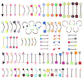 110Pcs/Pack Mixed Style Acrylic Barbell Tongue Navel Ring Body Piercing Jewelry