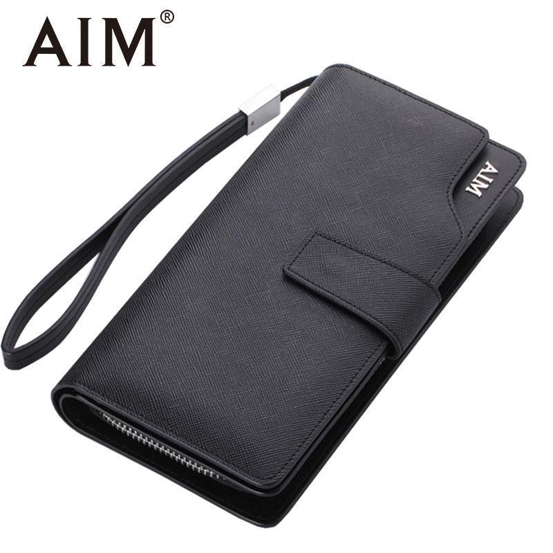AIM Classic Leather Long Wallet Men Brand Design Clutch Bag Male Handy Bags Men's Clutch Wallets Large Capacity Carteras Mujer 2016 famous brand new men business brown black clutch wallets bags male real leather high capacity long wallet purses handy bags