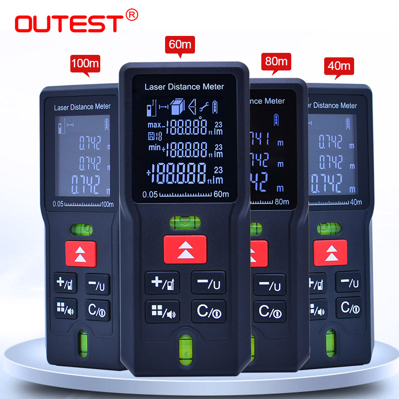 OUTEST 40M 60m 80m 100m Laser Rangefinder Digital Laser Distance Meter Laser Range Finder Tape Distance Measurer Ruler Test Tool