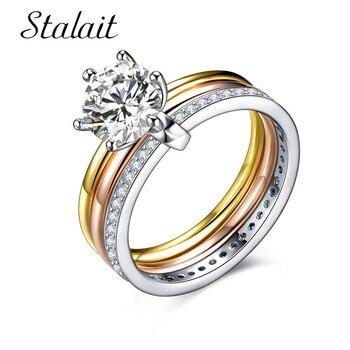 3bd7d238a836 Multicapa de Zirconia cúbica de tres bandas anillos de acero inoxidable  Tri-color oro círculos de colores anillo de la joyería para las mujeres