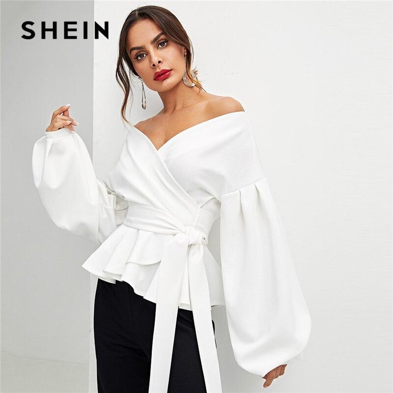 SHEIN blanco Oficina dama elegante manga linterna Surplice Peplum el hombro de la blusa de otoño mujeres Sexy y blusas Tops