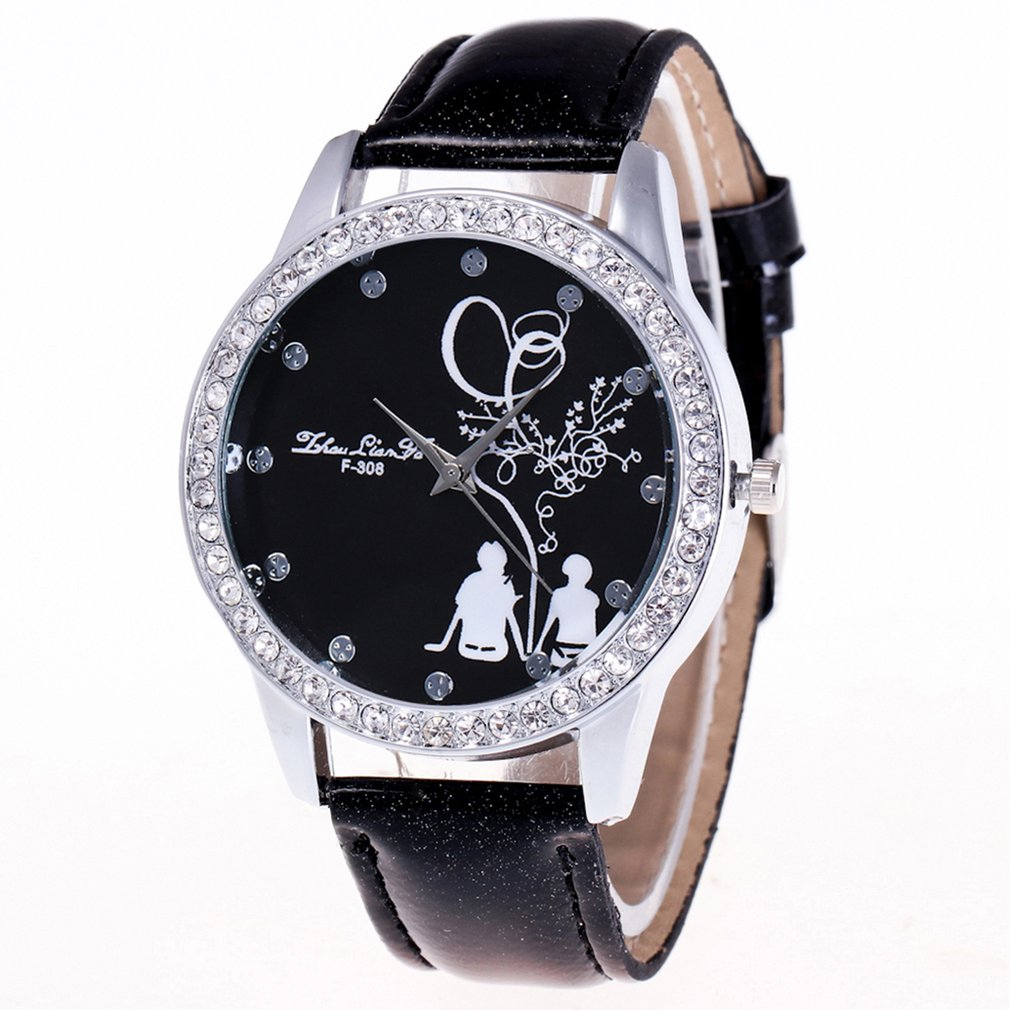 Fashion Women Watches Montre Femme Durable PU Leather Luxury Diamond Watch Quartz Watch Relogio Feminino Erkek Kol Saati