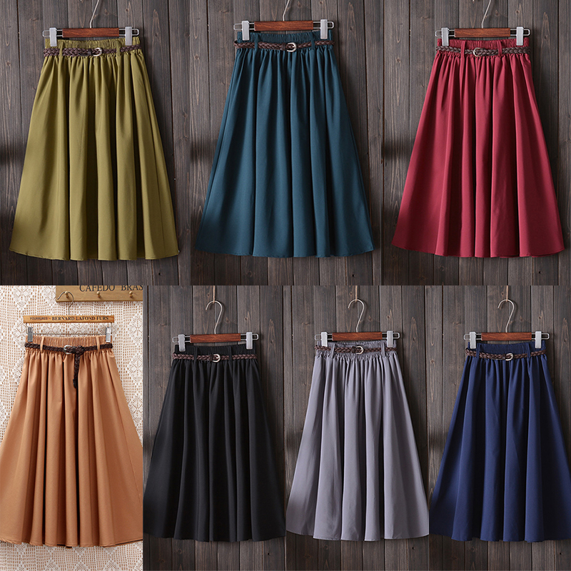 Fannic  Midi Knee Length Summer Skirt Women With Belt 2019 Fashion Korean Ladies High Waist Pleated A-line School Skirt Female