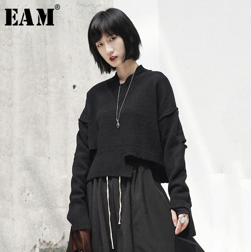 [EAM] 2019 новый весенний v-образный вырез с длинным рукавом черные свободные отверстия нерегулярный подол вязаный свитер Женская мода прилив ...