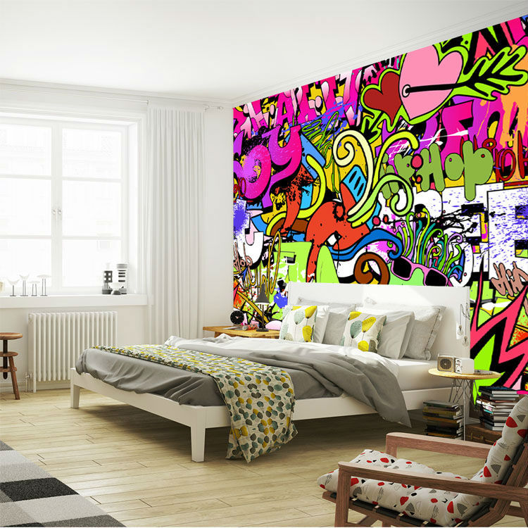 картинки комнаты с граффити рядом головным