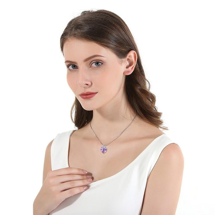 HTB10wP1bo rK1Rjy0Fcq6zEvVXaJ Swarovski Crystal Necklace Heart Shape Amethyst Crystal Pendant Necklace Fashion Jewelry Choker Necklace Gift for Lady Collares