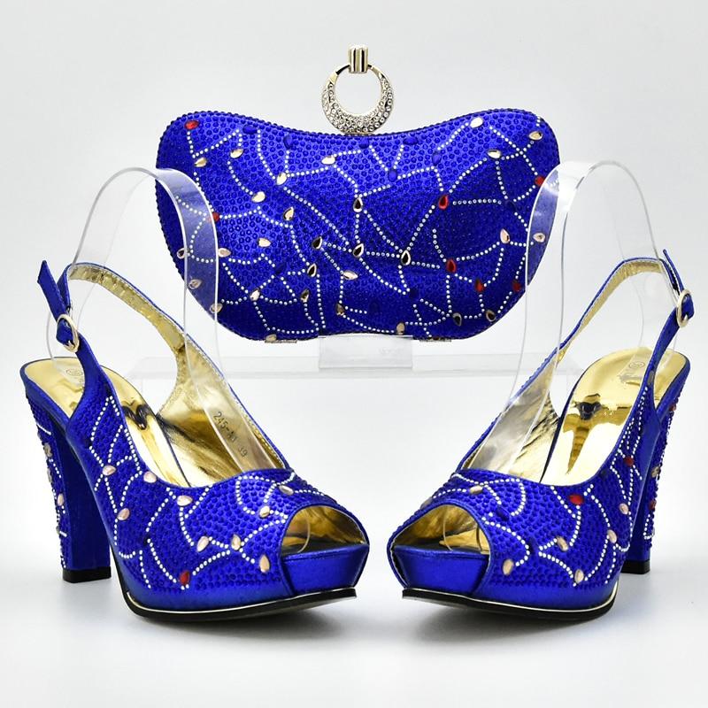 Y Bolsos Rhinestone Con red Juego Color Partido Zapatos Italianos Las plata Bolsa Decorado oro Azul Señoras orange green Matching Royal Blue Set A De qInFawnX