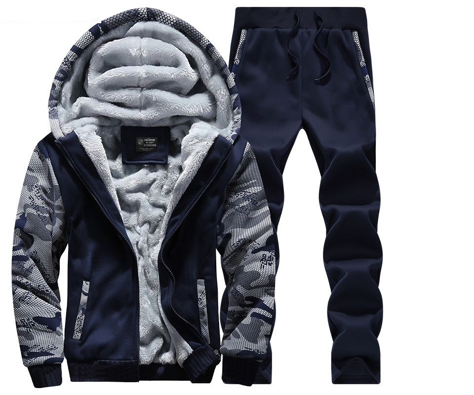 2019 Casual Tracksuit Mens Set Winter Brand Two Piece Sets All Cotton Inner Fleece Male Thick Hooded Jacket + Pants