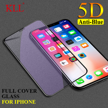 5D Curved Anti-Blue Light Full Cover Tempered Glass for iPhone X XR XS MAX Screen Protector Film for iPhone 6 6s 7 8 Plus Glass 6d anti purple blue ray tempered glass for iphone xs max xr x 6 6s 7 8 plus full curved screen protector eye protective film