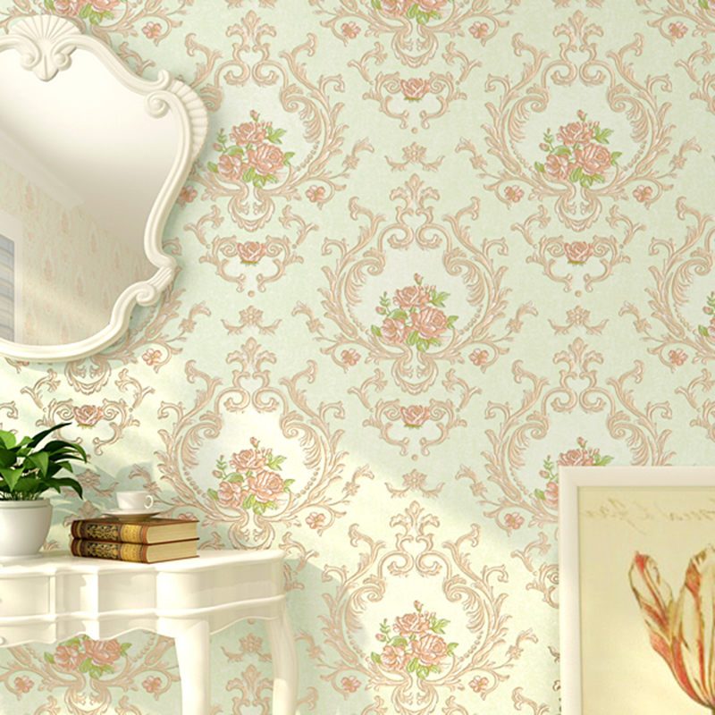 European Pastoral Style 3D Embossed Damask Flowers Wallpaper for Girls Bedroom Living Room Decoration Non-woven Wall Paper Roll blue earth cosmic sky zenith living room ceiling murals 3d wallpaper the living room bedroom study paper 3d wallpaper