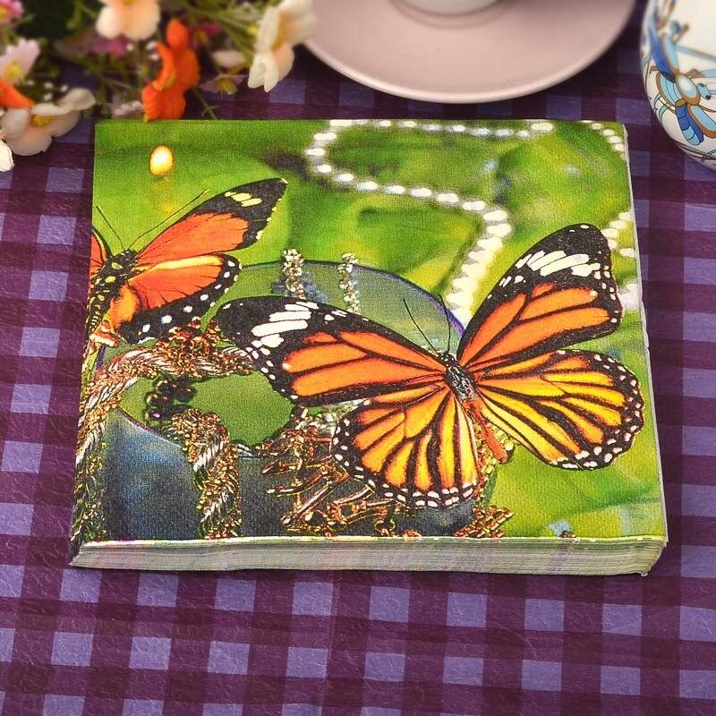20pcs food grade floral festive party tissue napkins decoupage party decoration paper butterfly paper - Decorative Paper Napkins