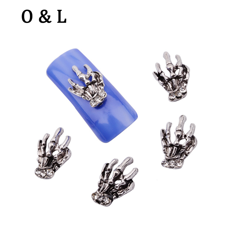 10pcs Anti silver Hand Design Charm 3d Rhinestones font b Nail b font Art Decoration DIY