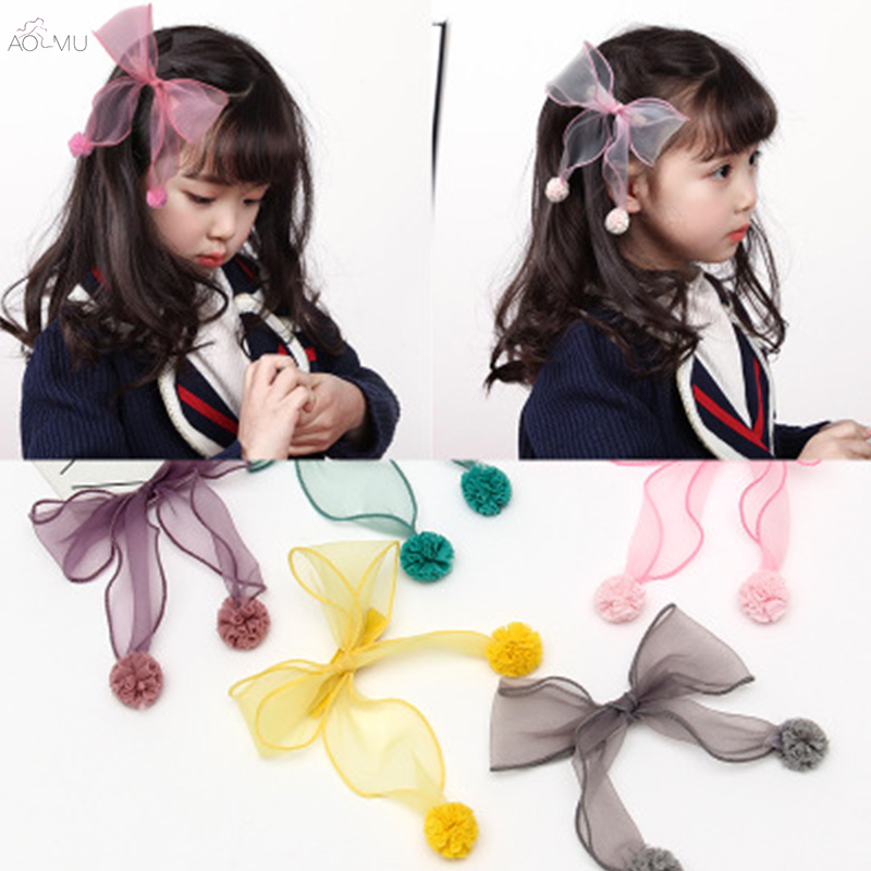 AOMU Red Pink Lace Chiffon Hair Accessories Korea Girls Princess Hair Clips Girls Big Ne ...