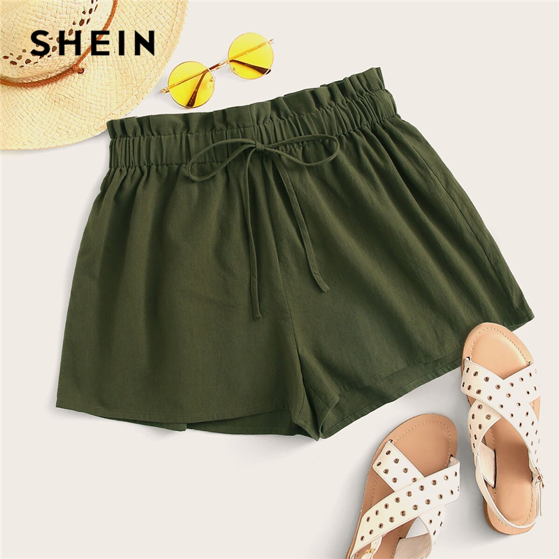 SHEIN Paperbag Waist Tie Front Shorts 2019 Casual Black Army Green Solid Women Loose Wide Leg High Waist Summer Shorts