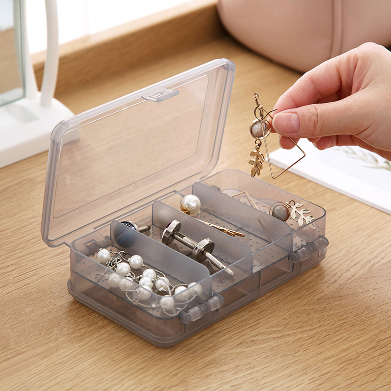 Travel Accessories Double Layer Storage Case Packing Security Ring Jewelry Accessory Plastic Transparent Portable Suitcase Bag