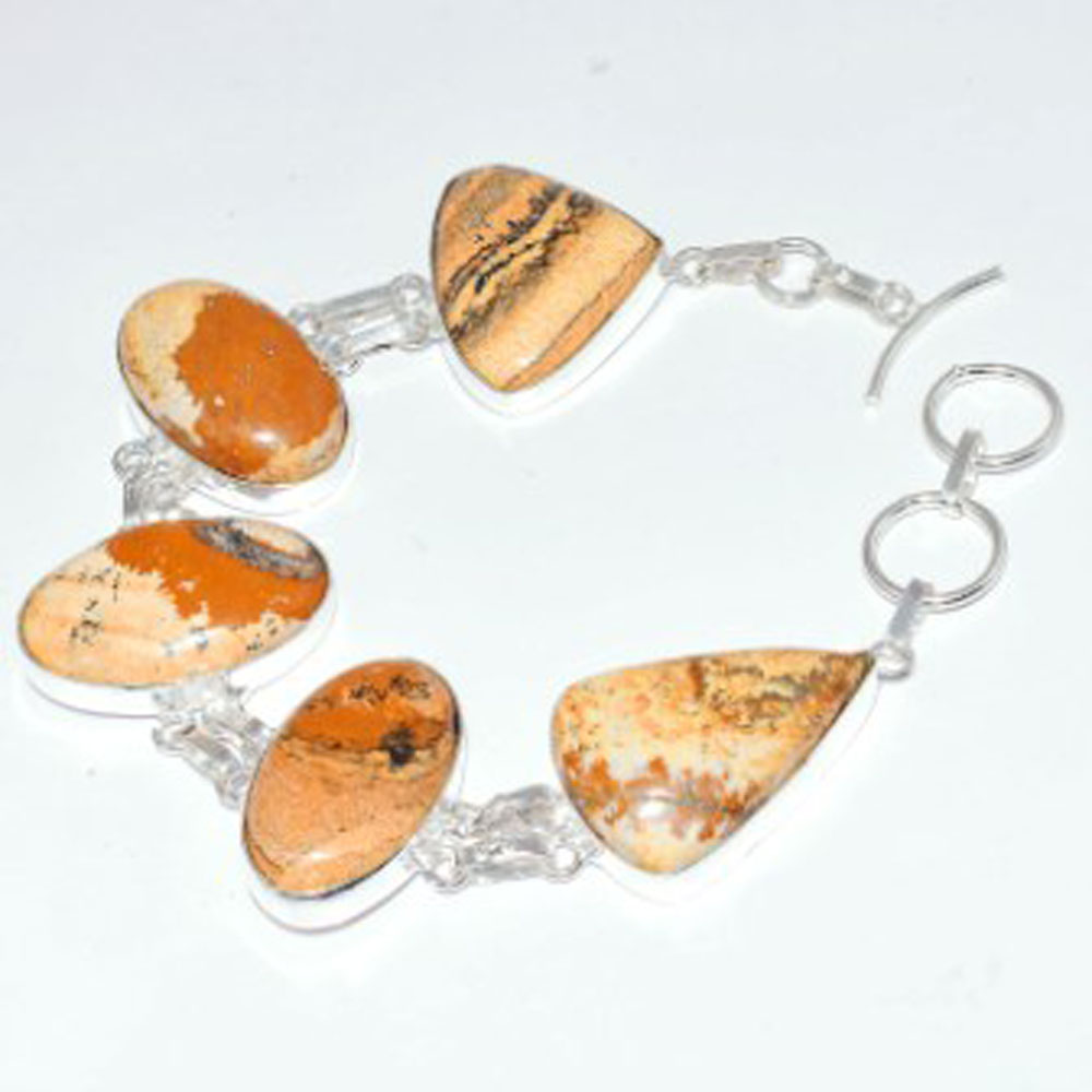 Picture Jaspers Bracelet Silver Overlay over Copper 22 2 cm B3598 in Charm Bracelets from Jewelry Accessories