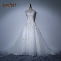 Crystal Wedding Dresses Lace Appliques Pearls Sheer Neck Backless Corset Back Bridal Gowns Real Photo A Line Wedding Dress