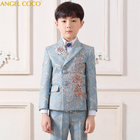 Цветы деловой костюм для мальчиков Свадебные кампус Студент платье Джентльмен детская куртка жилет брюки рубашка, галстук бабочка 5 шт цере