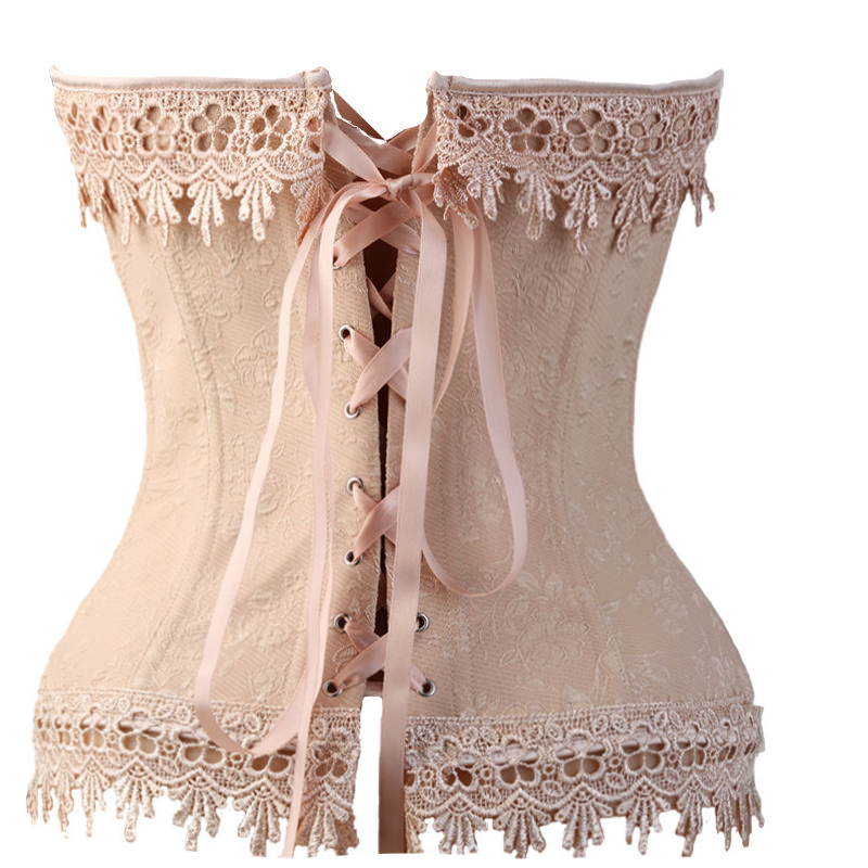 01ef42a05c7 HMF Sexy Lace Up Boned Burlesque Corset Tops Beige Lace Corset Busiter  Basque Lingerie Underwear Plus Size XXL 3XL 4XL 5XL 6XL-in Bustiers    Corsets from ...