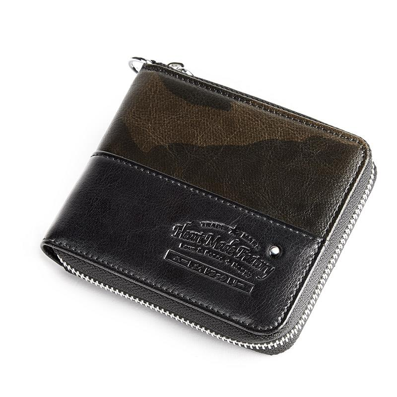 UIYI Genuine Leather Short Wallets Bifold Men Casual Cow Leather Business Wallet Coin Purse Card Holder Zipper Camouflage 160247 mens wallets black cowhide real genuine leather wallet bifold clutch coin short purse pouch id card dollar holder for gift