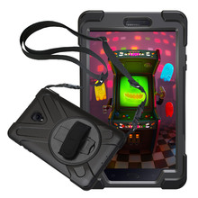 For Samsung Galaxy Tab A 8.0 2017 T380/T385 Pirate Tablet Case Cover Silicone+PC Kickstand Hard Case With Wrist + Shoulder Strap for samsung galaxy tab s2 8 0 sm t710 t715 pirate tablet case cover silicone pc kickstand hard case with wrist shoulder strap
