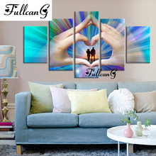 FULLCANG 5D diamond mosaic diy painting 5 pcs hand heart full square embroidery pattern rhinestone kits F194