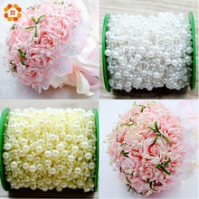 5Meters Lot Beige White Fishing Line Artificial Pearls Beads Chain Garland Flowers For Wedding Bridal Bouquet