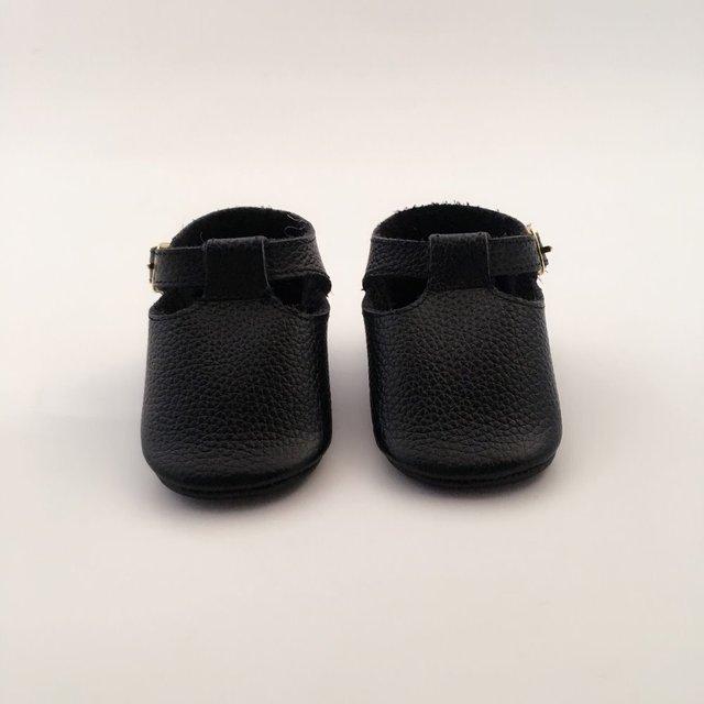 Preto De Couro Geninue Infantil Arco Sapatos Feitos À Mão Sapatos de Bebê
